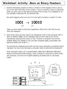 More on Binary Numbers orksheet